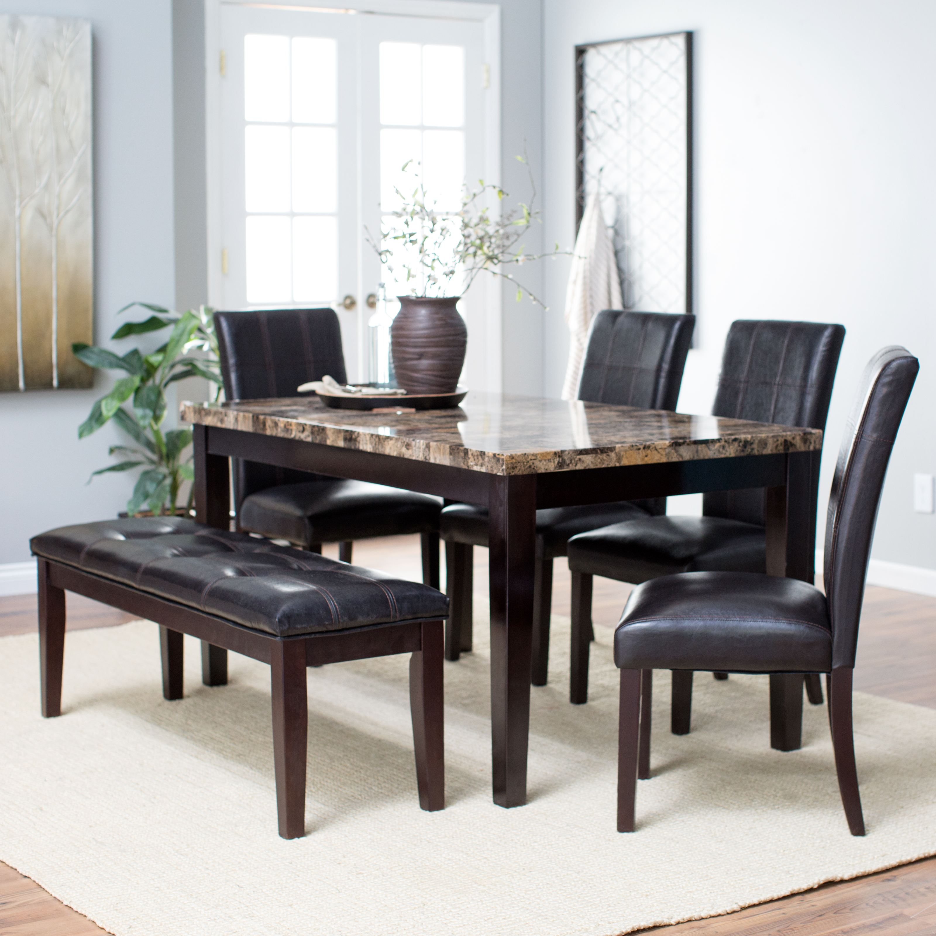 Finley home palazzo 6 piece dining set with bench dining for High dinner table set