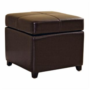 Biondello Square Leather Storage Ottoman - Black