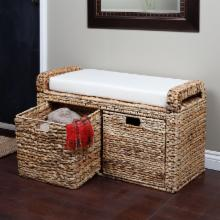  Banana Leaf Wicker Storage Bench