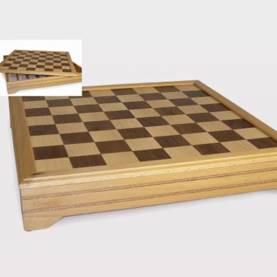 Inlaid Beech and Maple Chess Board with Storage