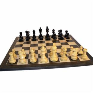 Ebony Taj Chess Set on Ebony Veneer Board