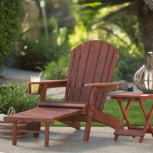 Coral Coast Big Daddy Adirondack Chair with Pull-out Ottoman and Cup Holder - Barn Red Stained