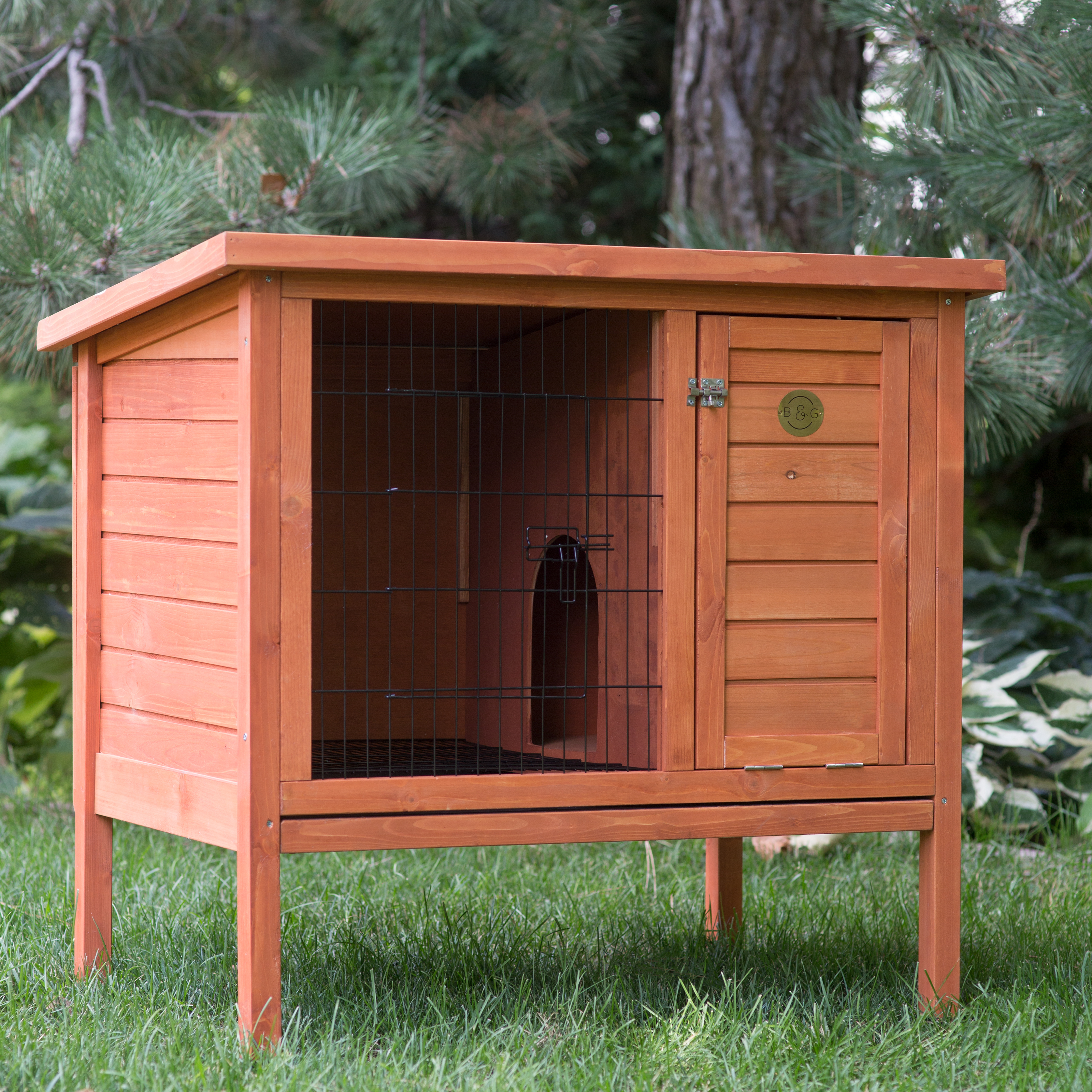boomer george elevated outdoor rabbit hutch natural. Black Bedroom Furniture Sets. Home Design Ideas