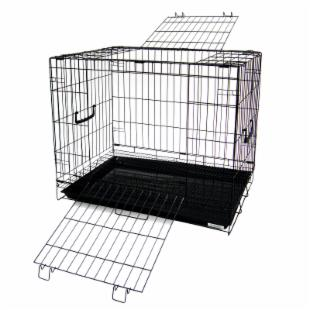 YML 24 in. Collapsible Animal Cage with Bottom Grate - Black