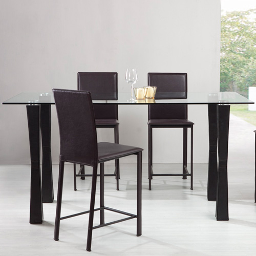 Counter Height Glass Dining Table Set : Santee 5 pc. Counter Height Glass Dining Table Set at Hayneedle