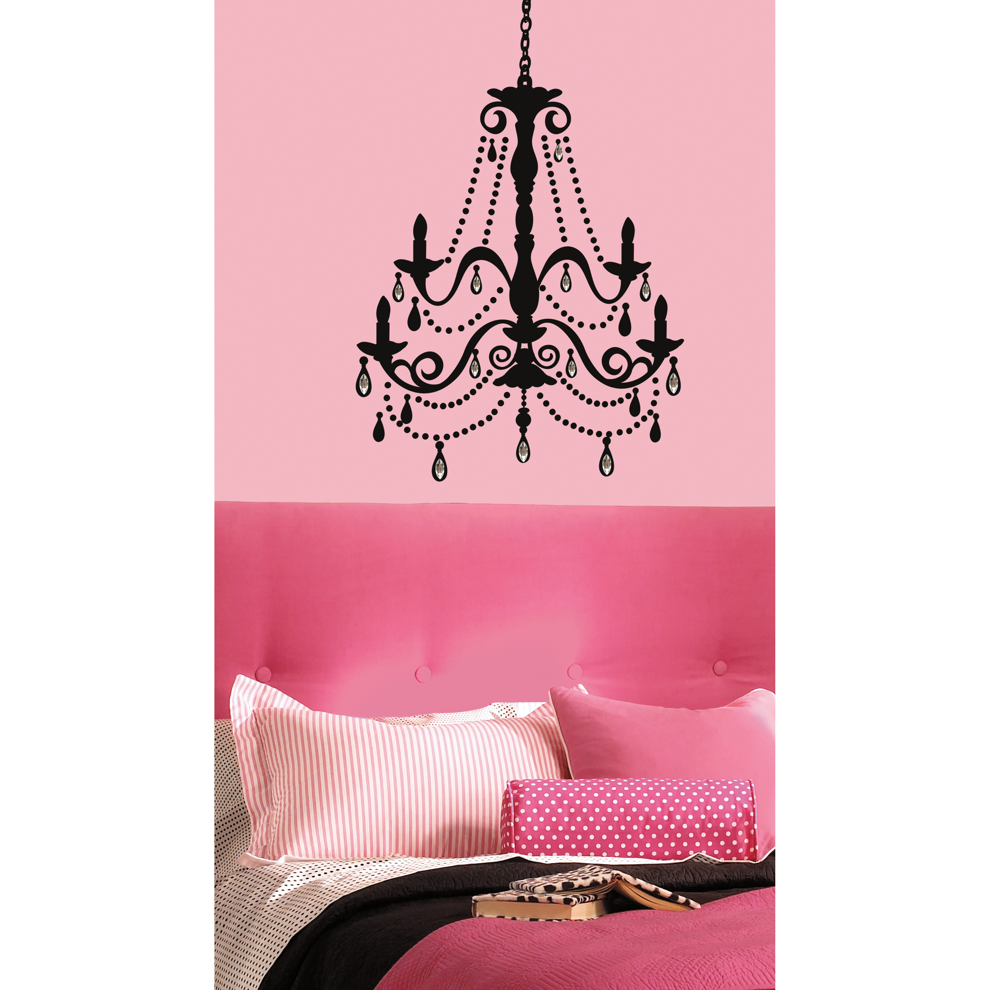 Chandelier with Gems Removable Giant Wall Decal - 25W x 36H in.
