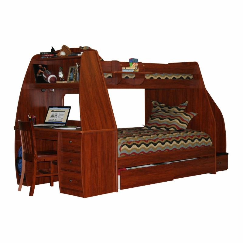 Enterprise Twin over Full Bunk Bed with Trundle / Desk / Stairway