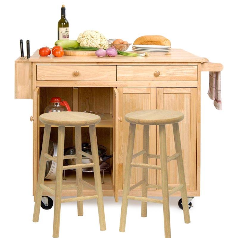 Belham Living Vinton Stationary Kitchen Island with Optional Stools