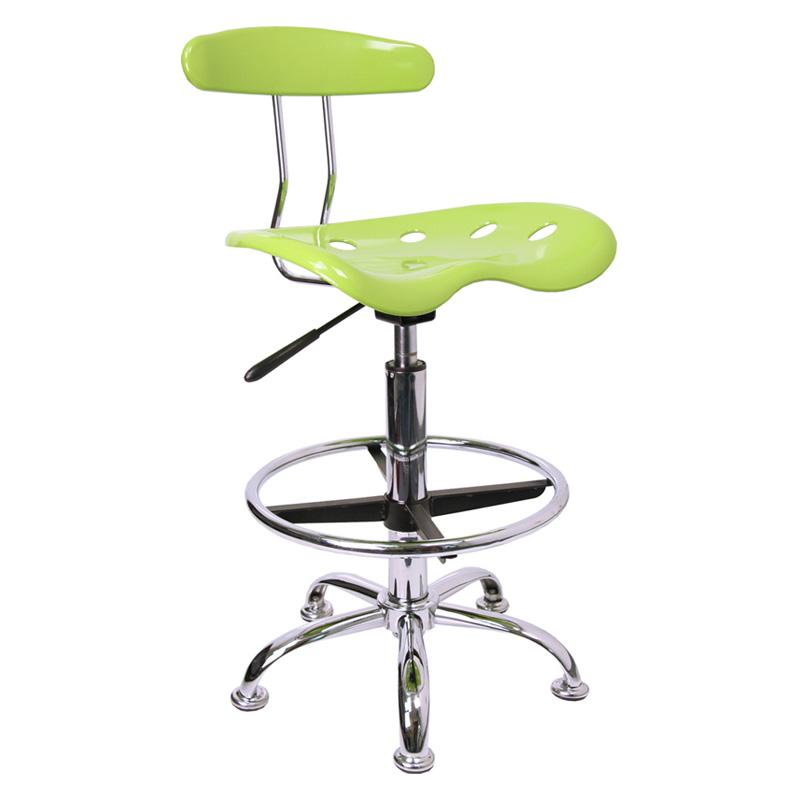 Vibrant Drafting Stool with Tractor Seat Apple Green FLSH400-1