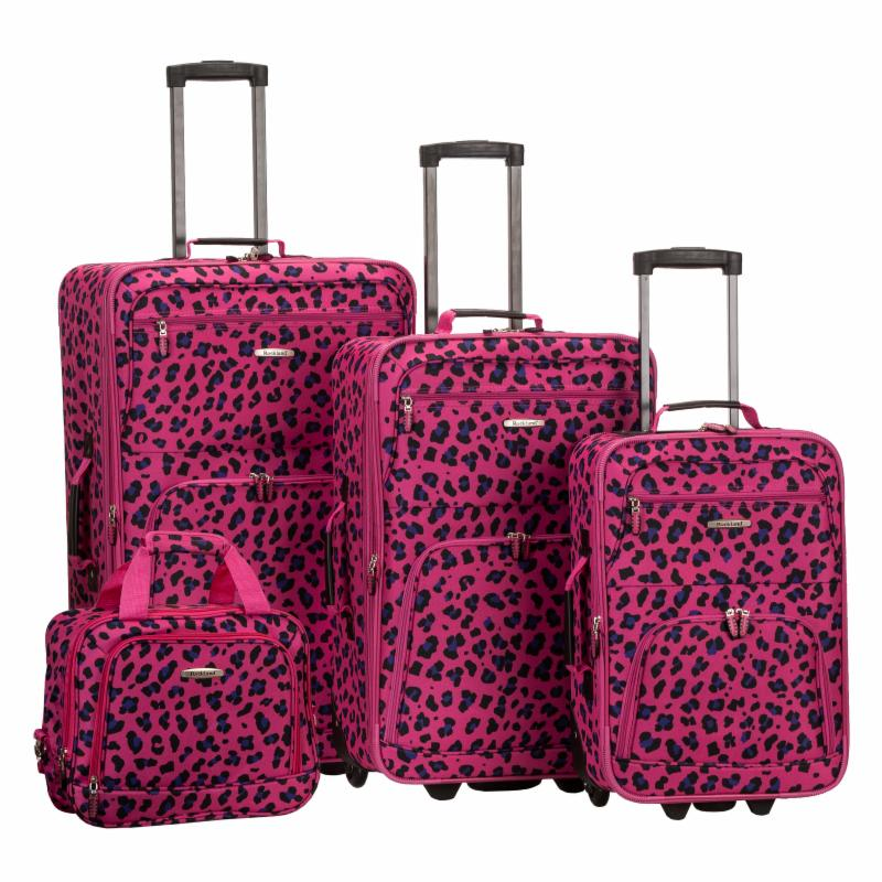 Rockland Luggage F125 4 Piece Expandable Rolling Luggage Set Magenta Leopard
