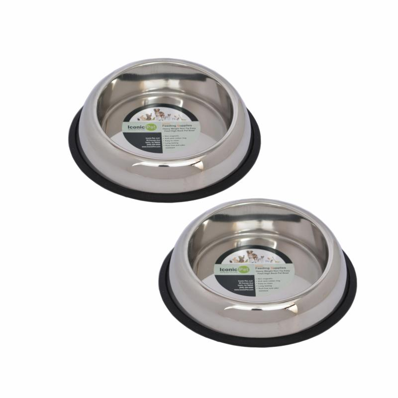 Iconic Pet 2 Pack Heavy Weight Non-Skid Easy Feed High Back Pet Bowl ICOP022-4
