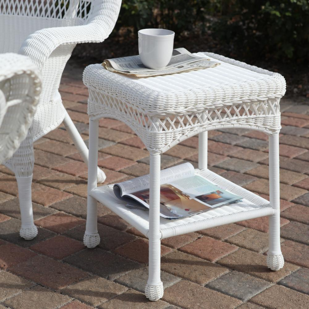 Sahara all weather outdoor wicker end table ebay for Outdoor furniture end tables