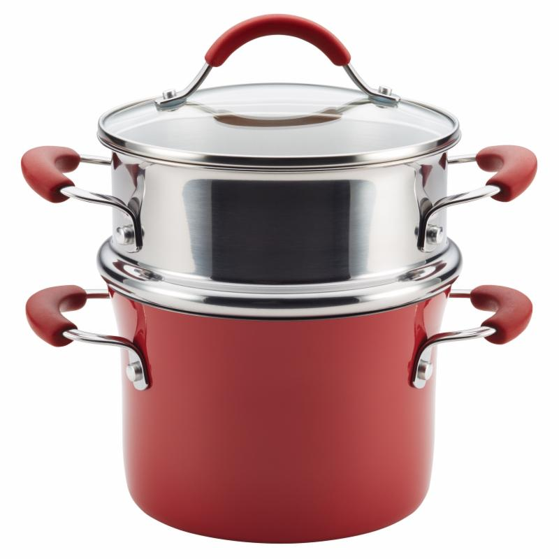Rachael Ray Cucina 3 qt. Hard Enamel Nonstick Covered Multi Pot Steamer Cranberry Red MECIO3037-2