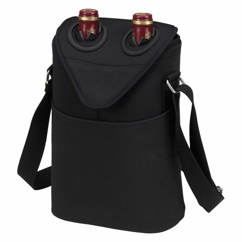 Picnic At Ascot Double Bottle Insulated Wine Tote Black