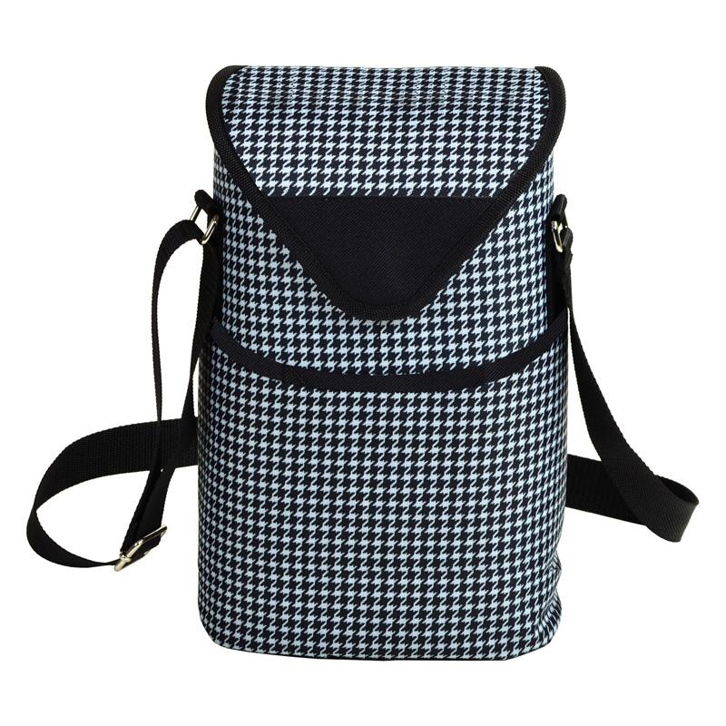 Picnic At Ascot Double Bottle Insulated Wine Tote Houndstooth