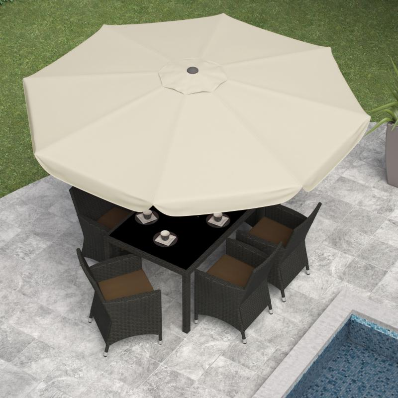 CorLiving 10 ft. Steel Patio Umbrella with Push Button Tilt Warm White
