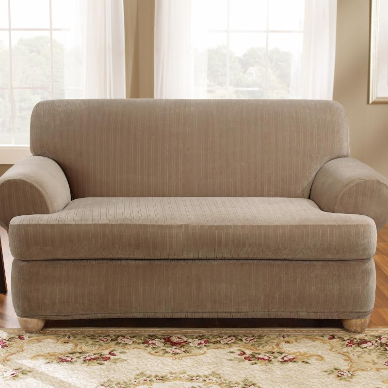 Upc 047293358241 Sure Fit Stretch Pinstripe 2 Piece T Cushion Loveseat Slipcover Taupe