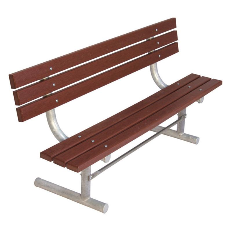 Outdoor Ultra Play Heavy Duty Recycled Plastic Bench With Back Brown UPS099-3