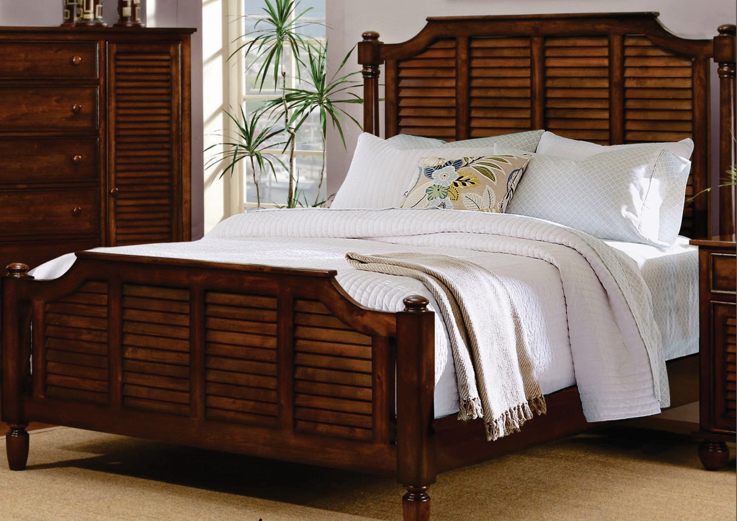 Charming Sunset Trading Bahama Shutter Wood Collection Platform Bed