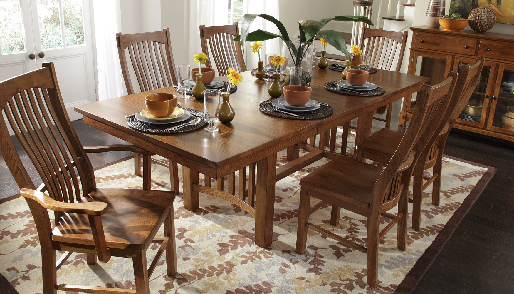 A America Laurelhurst Collection Rectangular Wood Top Dining Table Set