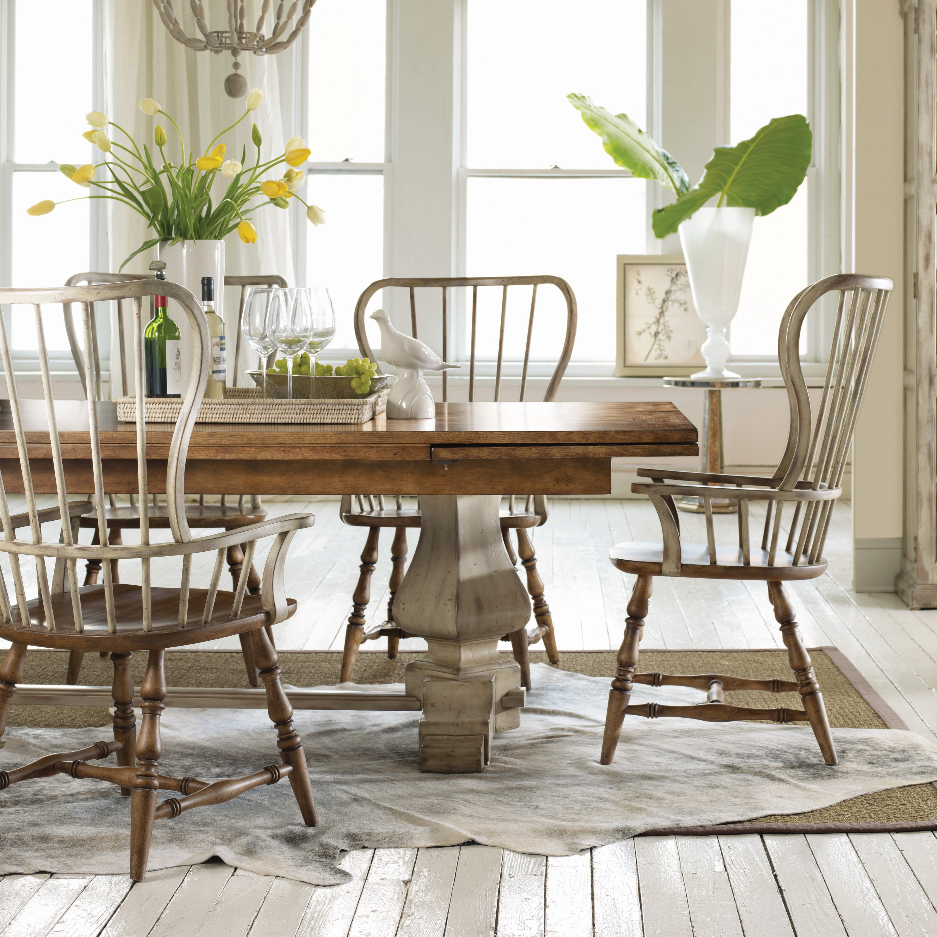 Hooker Furniture Sanctuary Collection Refectory Trestle Dining Set