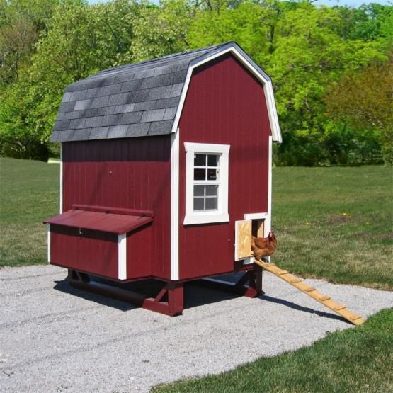 Little Cottage Unpainted Gambrel Barn Chicken Coop - Small