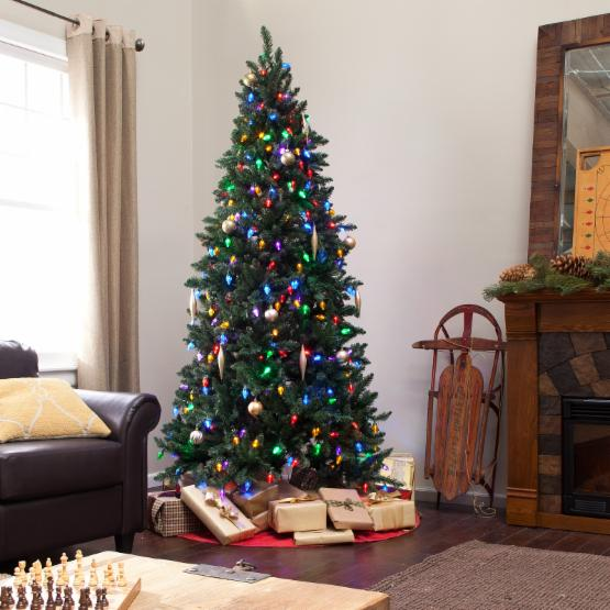 7.5 ft. LED Remote Control 8 Function Columbus Pine Christmas Tree