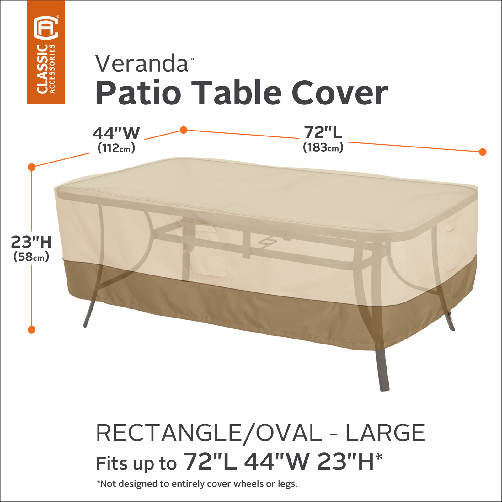 Incroyable Classic Accessories Veranda Rectangle Oval Patio Table Cover