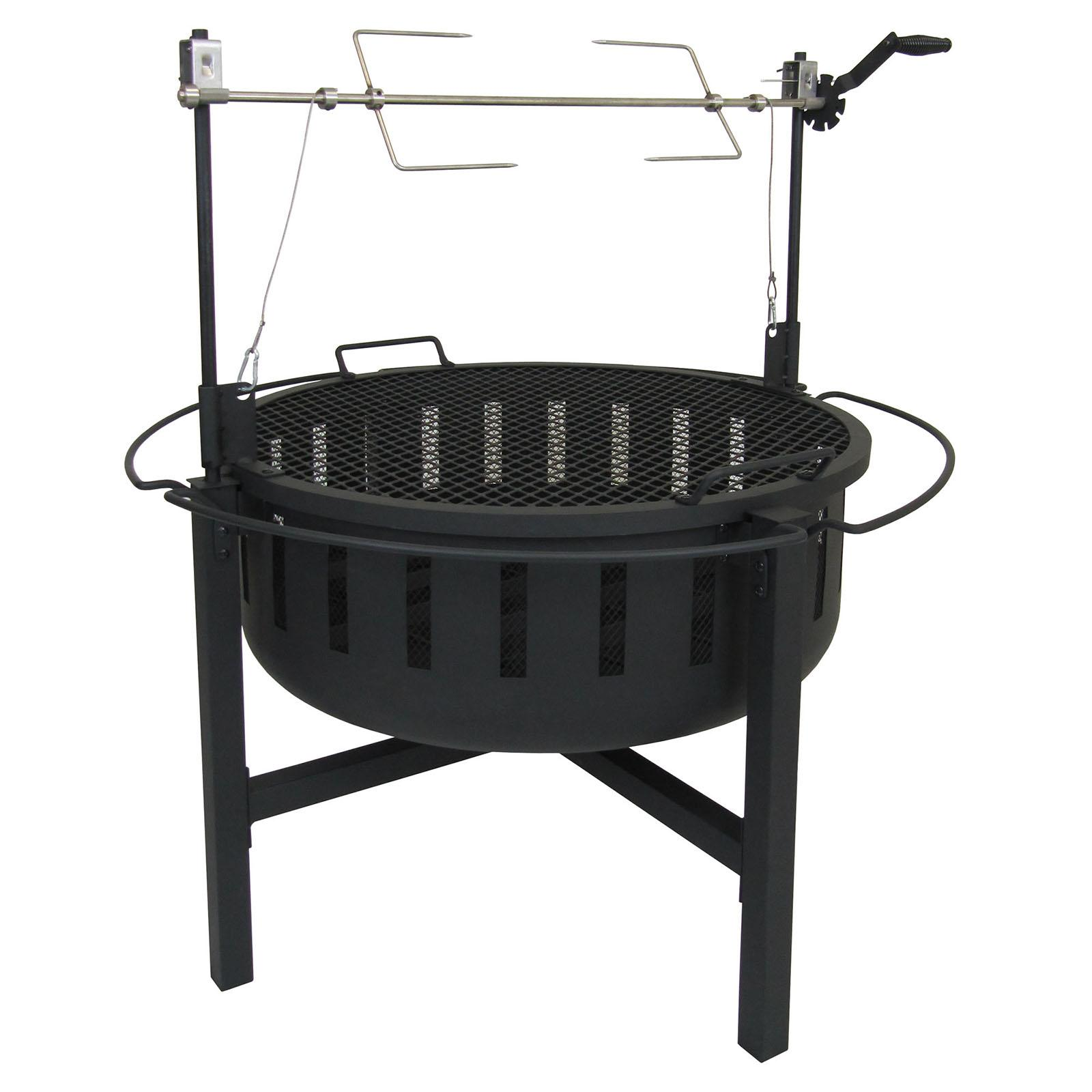 landmann usa fire rock 38 diam. fire pit with grill and rotisserie