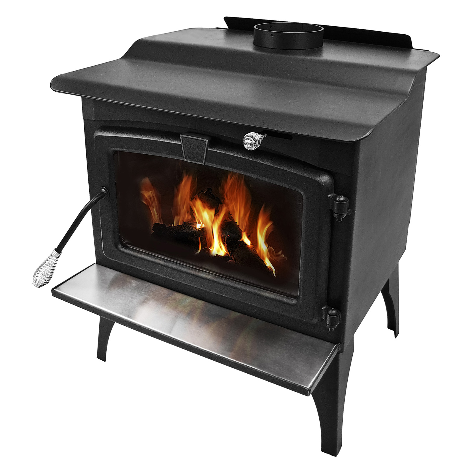 Pleasant Hearth Medium Wood Burning Stove with Blower - Black ...