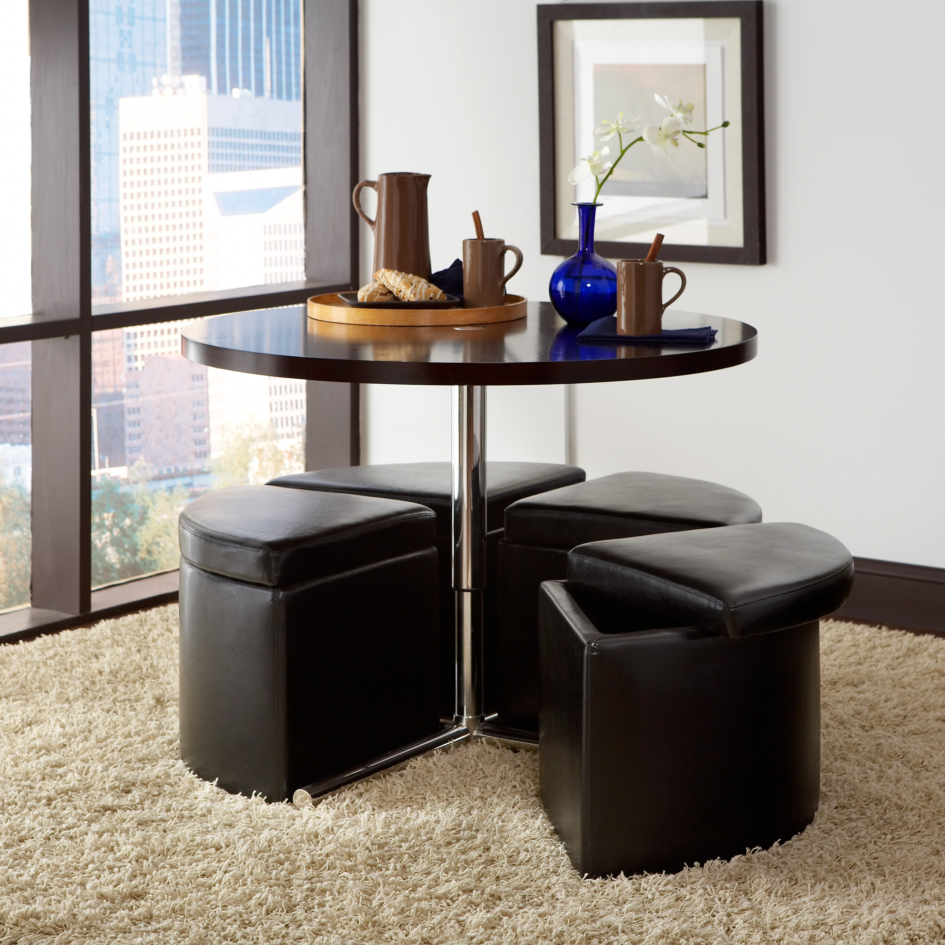 Standard Furniture Cosmo Adjustable Height Round Wood Top Coffee