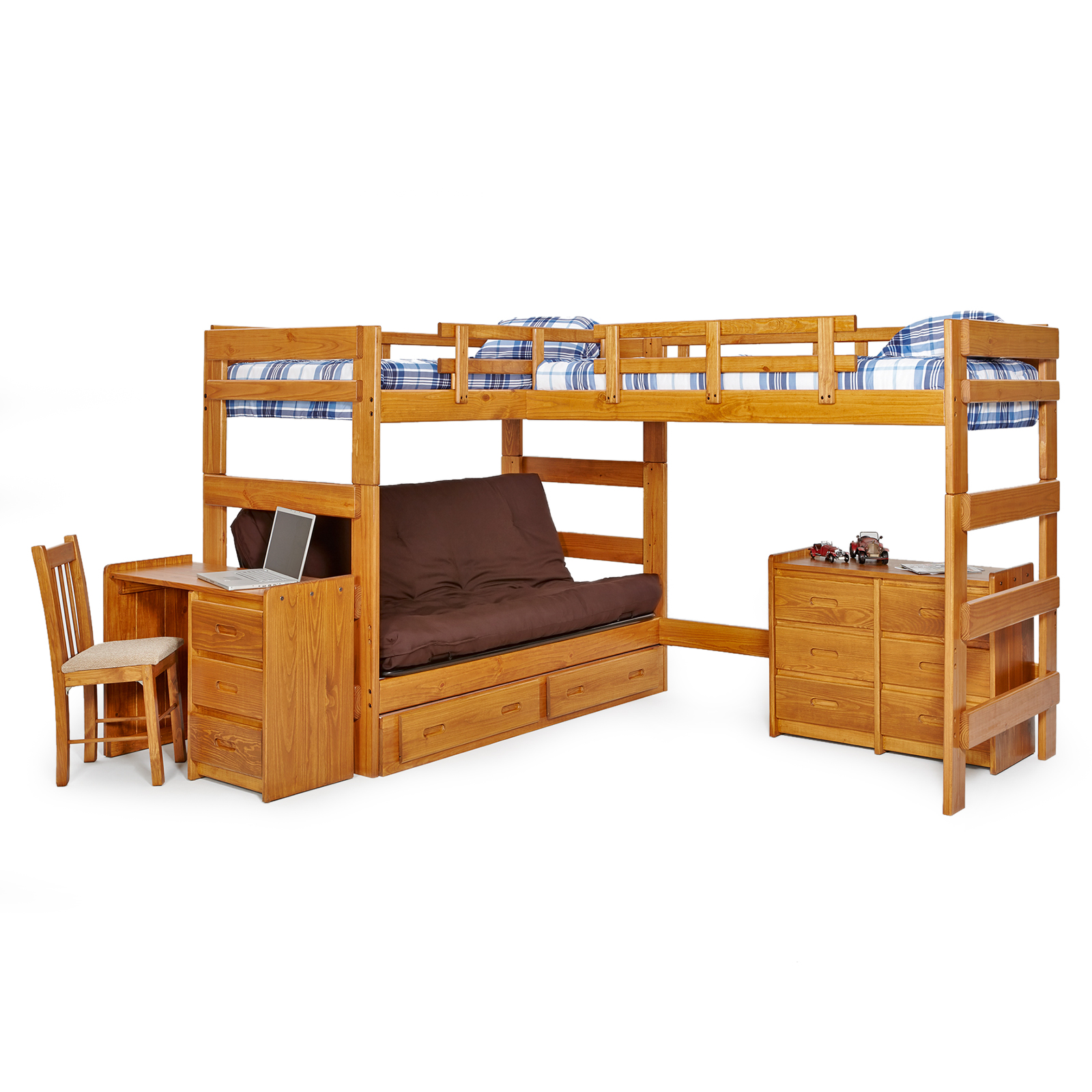 woodcrest heartland futon bunk bed with extra loft - honey pine