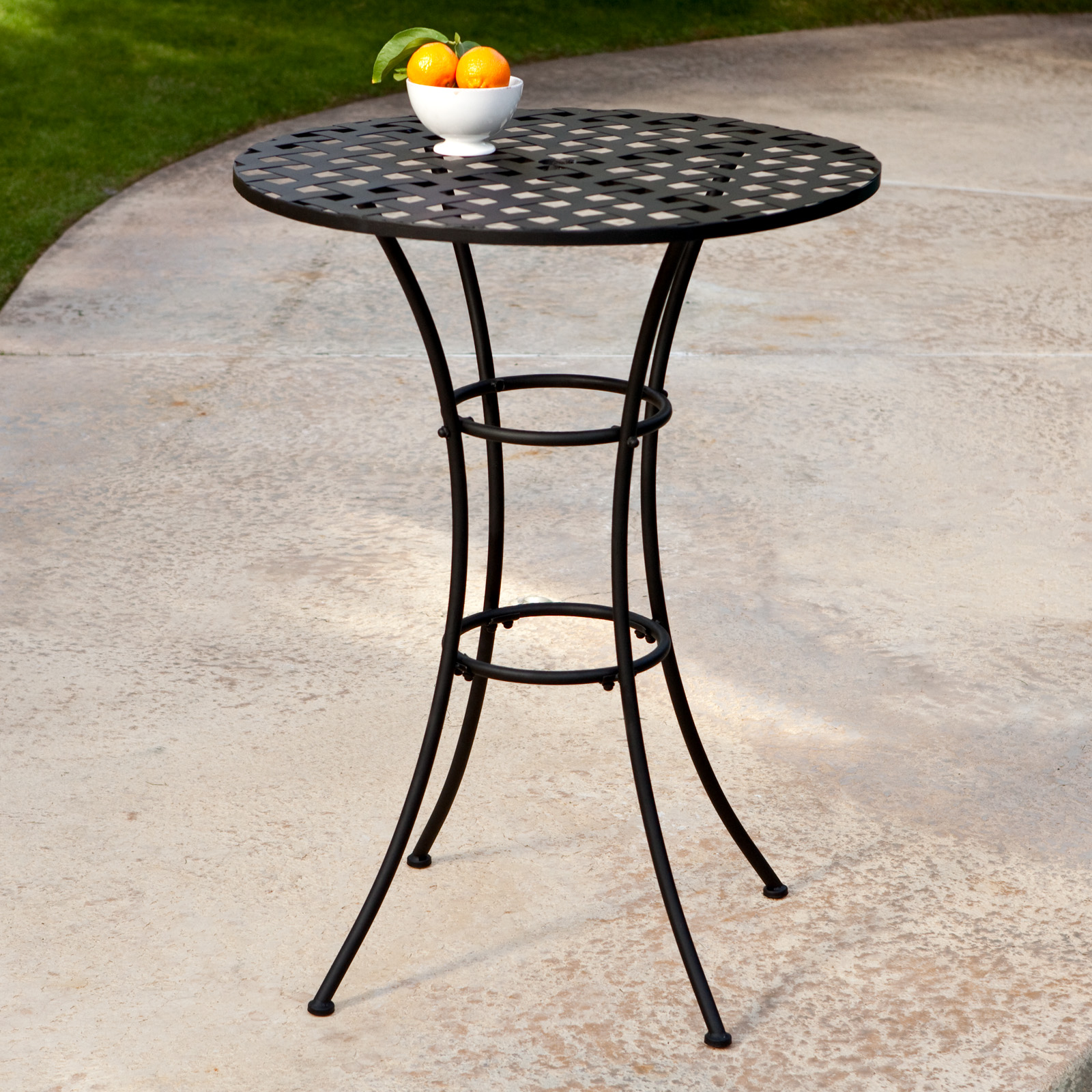 Belham Living Wrought Iron Bar Height Bistro Set By Woodard   Outdoor Bistro  Sets At Hayneedle