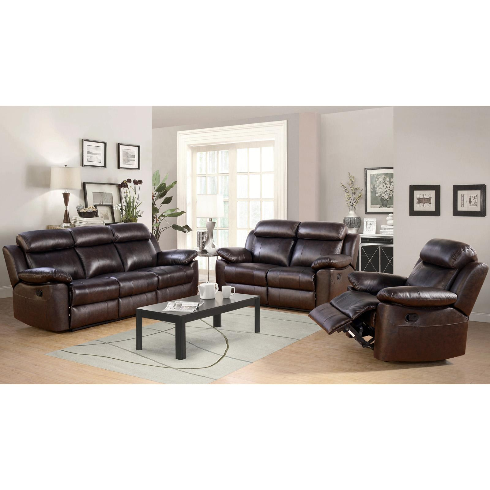 Marvelous Details About Abbyson Dominica Top Grain Leather Reclining Sofa Set Brown Creativecarmelina Interior Chair Design Creativecarmelinacom