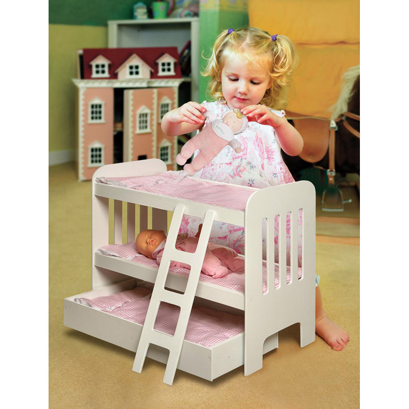 Badger Basket Pink Gingham Princess Doll Bunk Bed With Wheeled Trundle |  Hayneedle