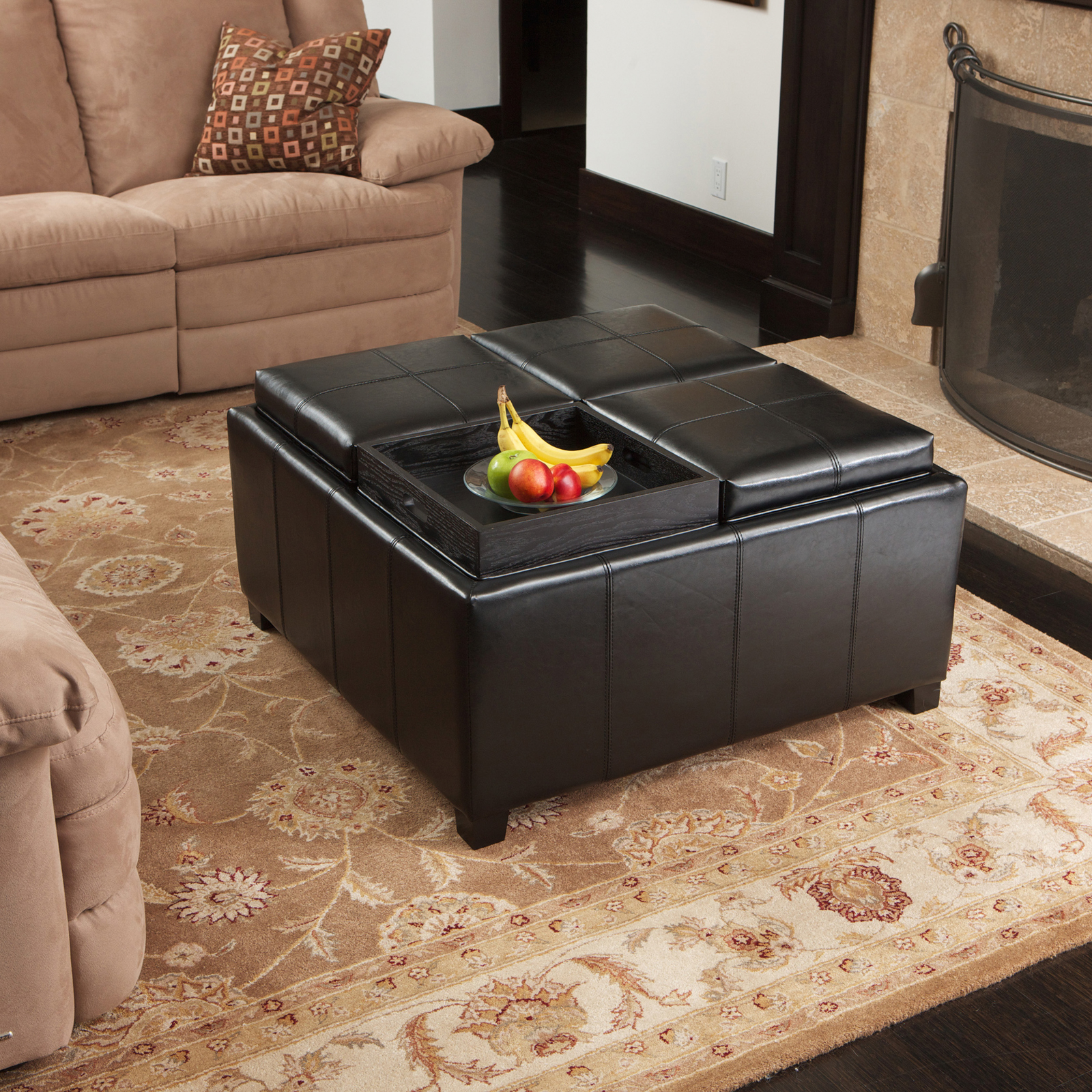 Best Selling Home Decor Dartmouth Four Sectioned Leather Cube Storage  Ottoman | Hayneedle
