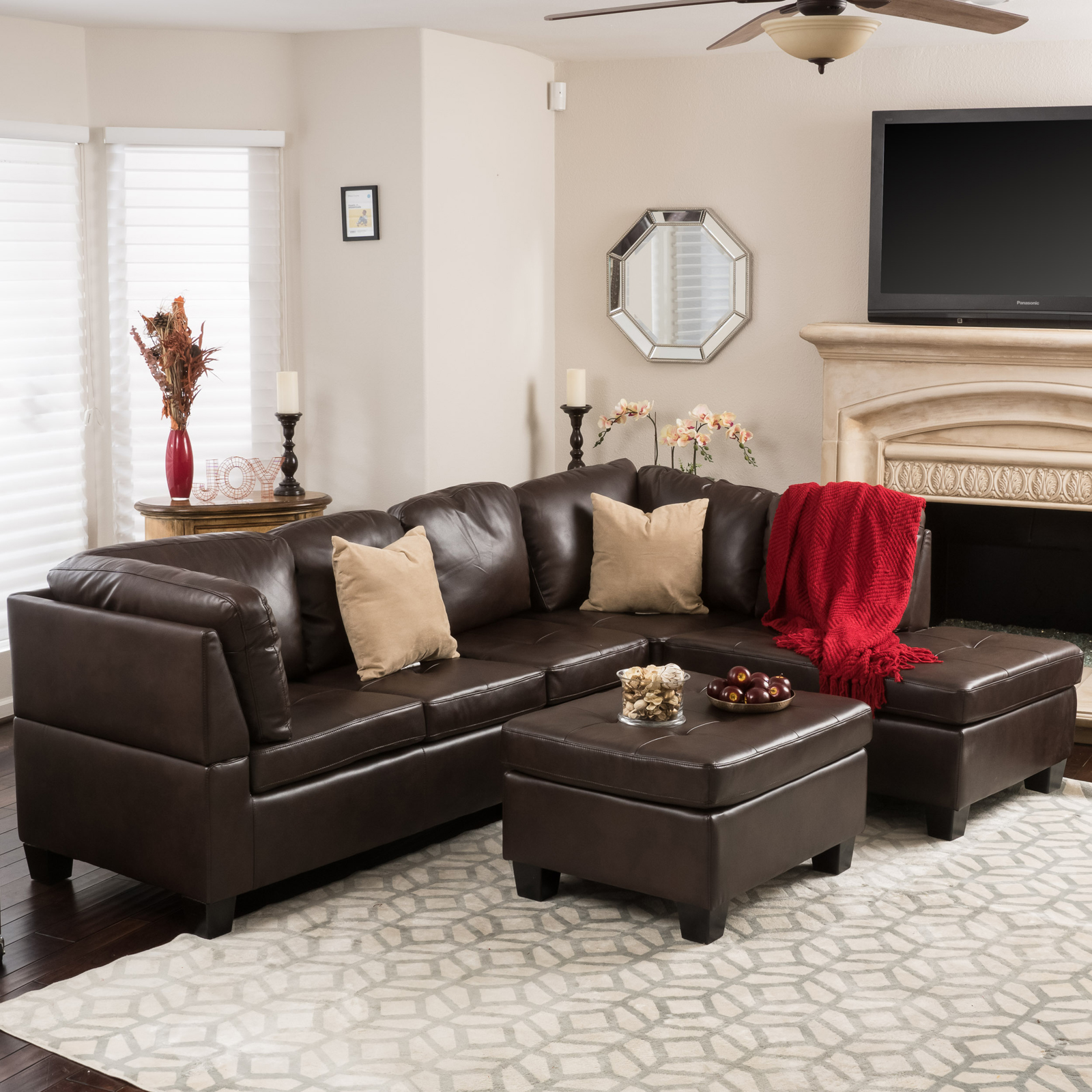 Best Selling Home Evan 3 Piece Leather Sectional Sofa