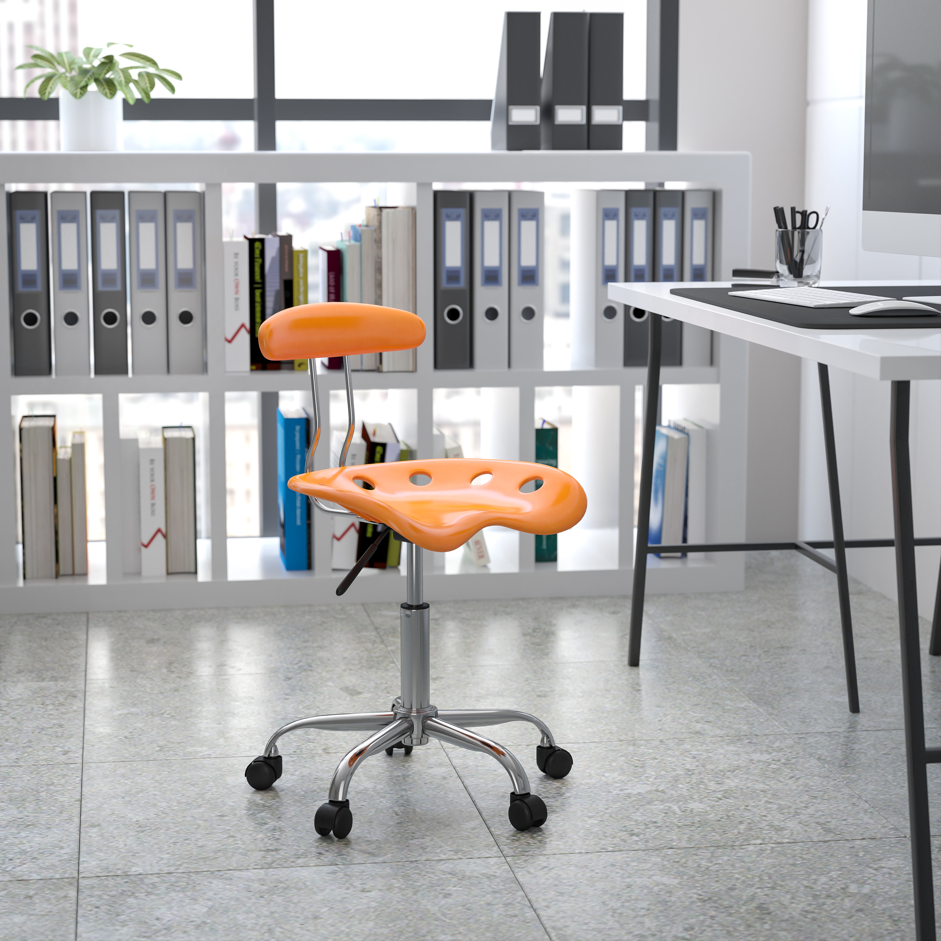 Flash Furniture puter Task Chair with Tractor Seat and Chrome