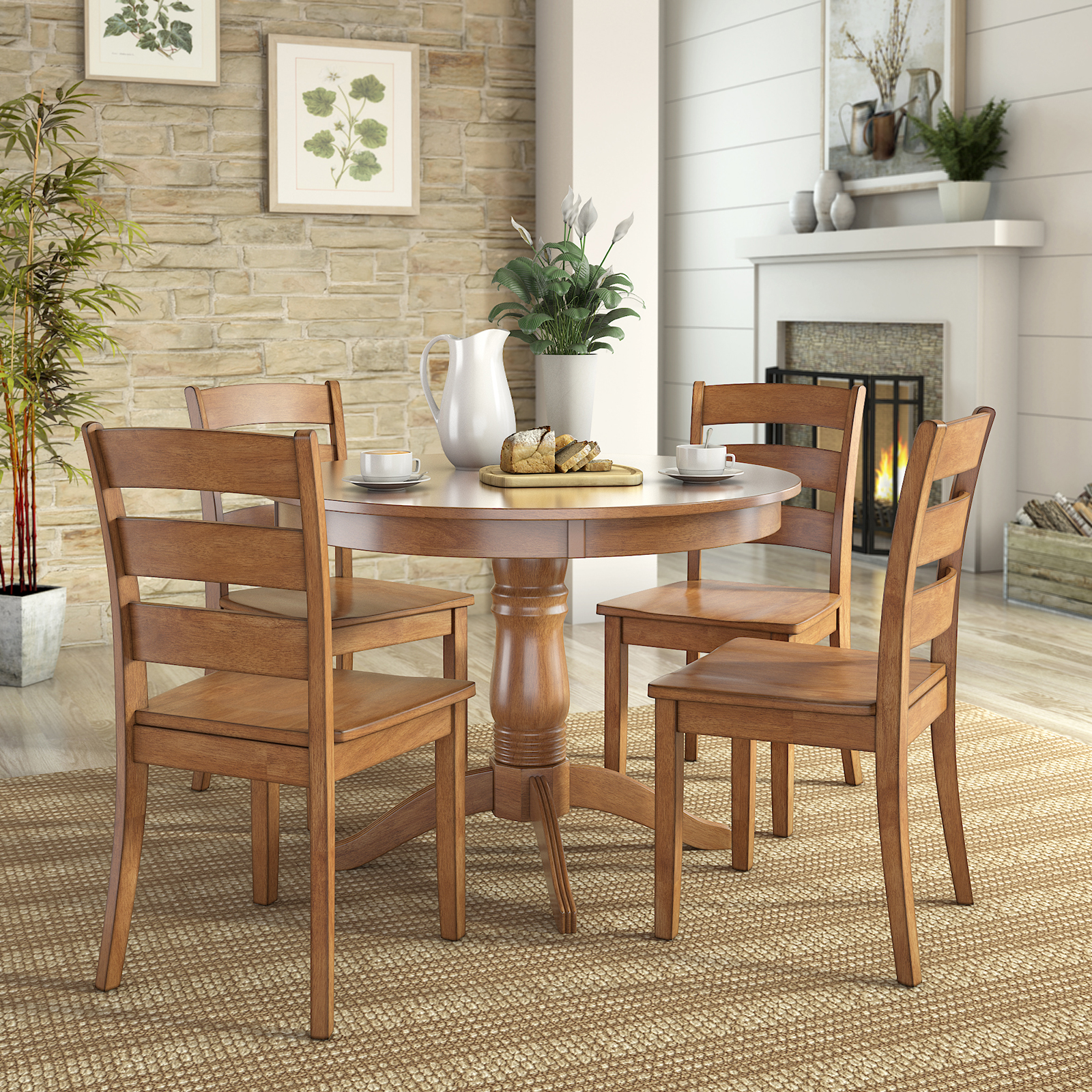 QUICK VIEW. Weston Home Lexington 5 Piece Round Dining Table Set ...