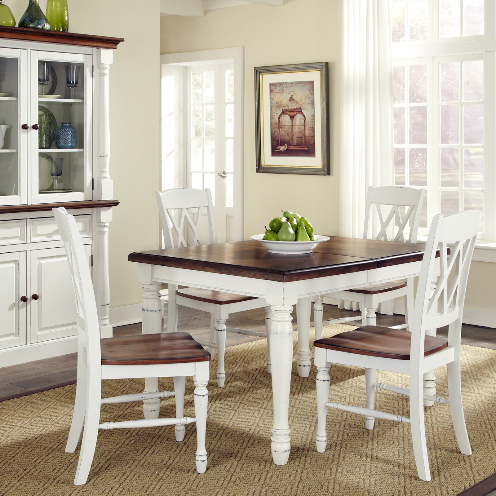 Home Styles Monarch 5 Piece Dining Table with 4 Double X Back Chairs   White    Oak   Hayneedle. Home Styles Monarch 5 Piece Dining Table with 4 Double X Back