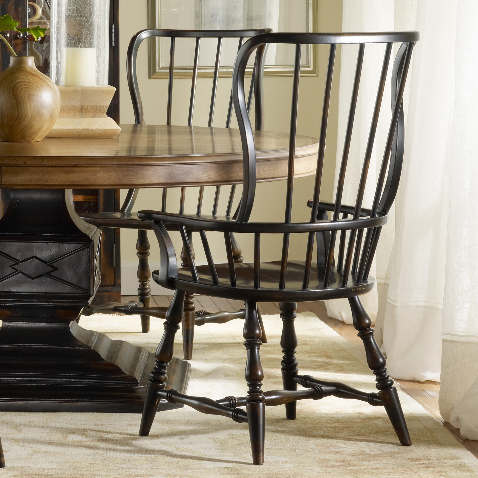 Black farmhouse chairs - Hooker Furniture Sanctuary Spindle Back Dining Arm Chair Set Of 2 Dining Chairs At Hayneedle