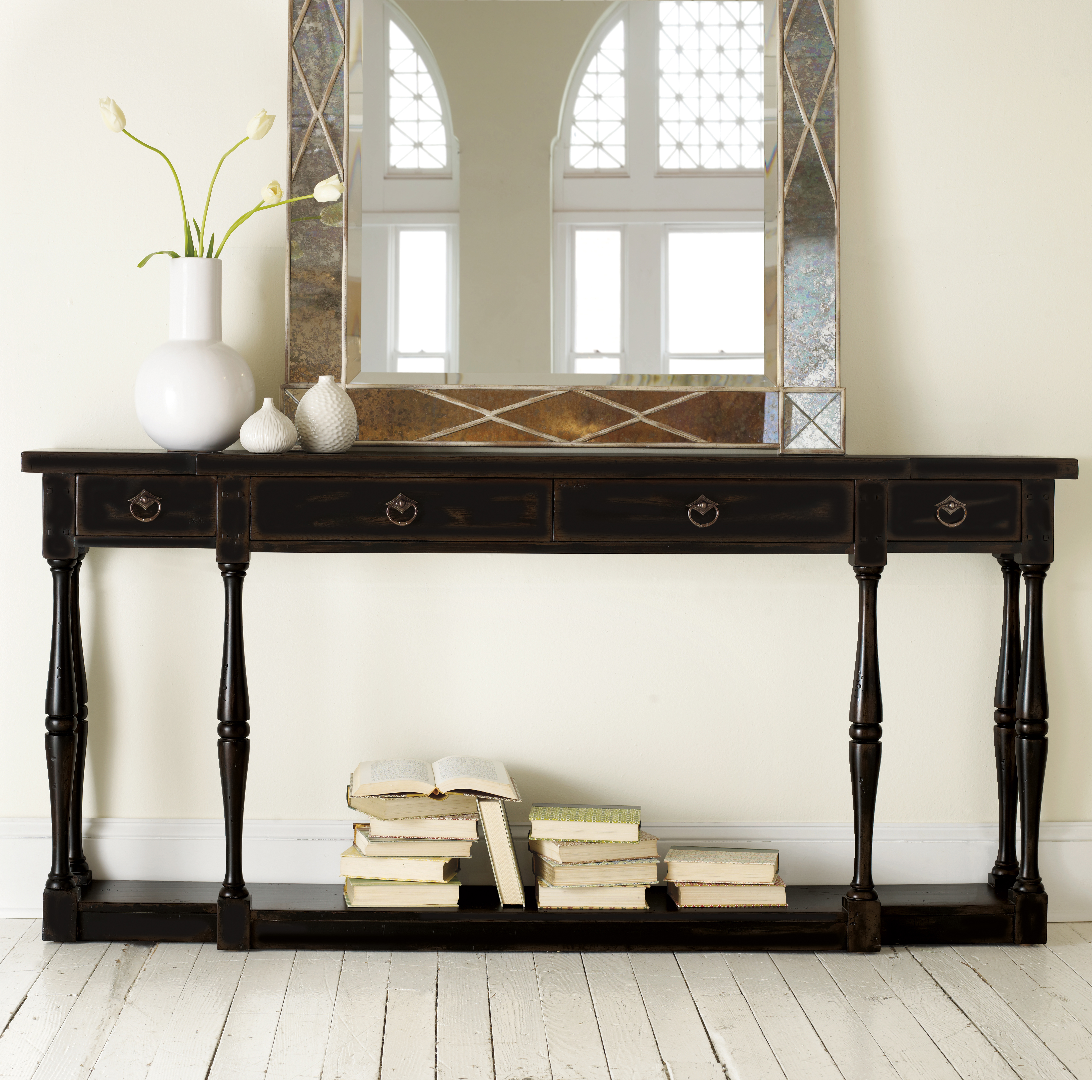 Hooker furniture ebony 4 drawer thin console hayneedle geotapseo Image collections