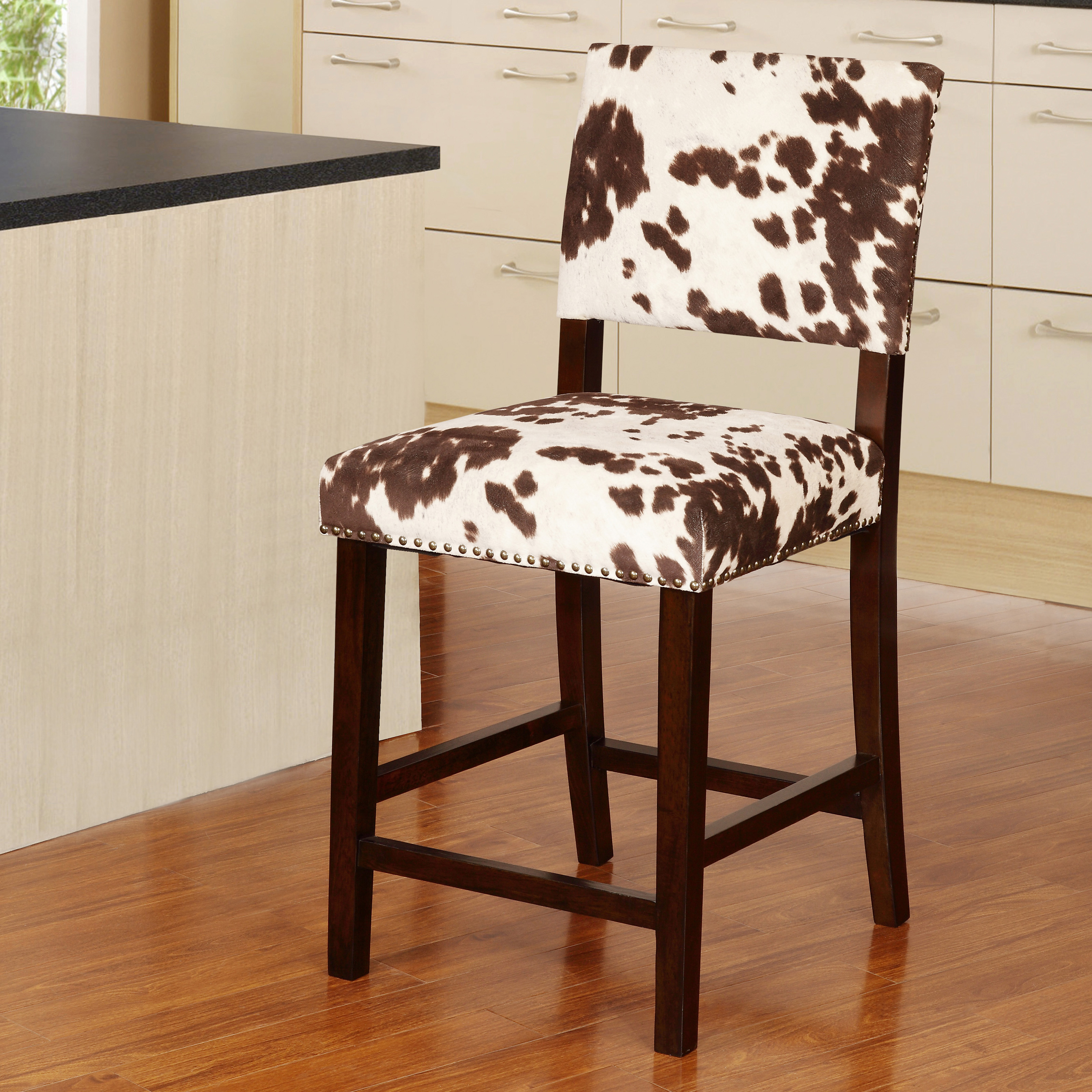 Linon Corey 24 in. Counter Stool - Udder Madness Brown | Hayneedle
