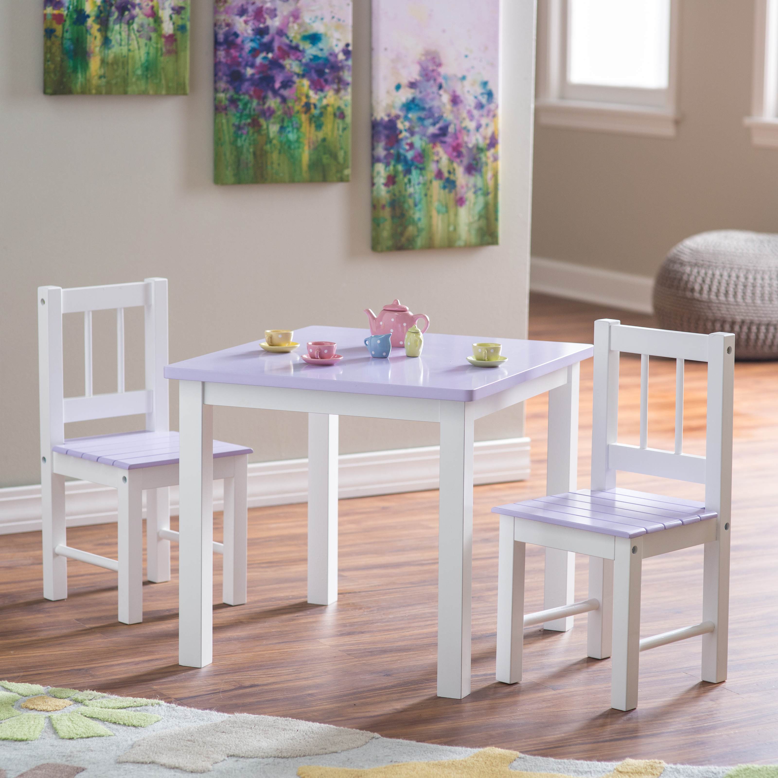 Lipper Kids Small Lilac and White Table and Chair Set Hayneedle