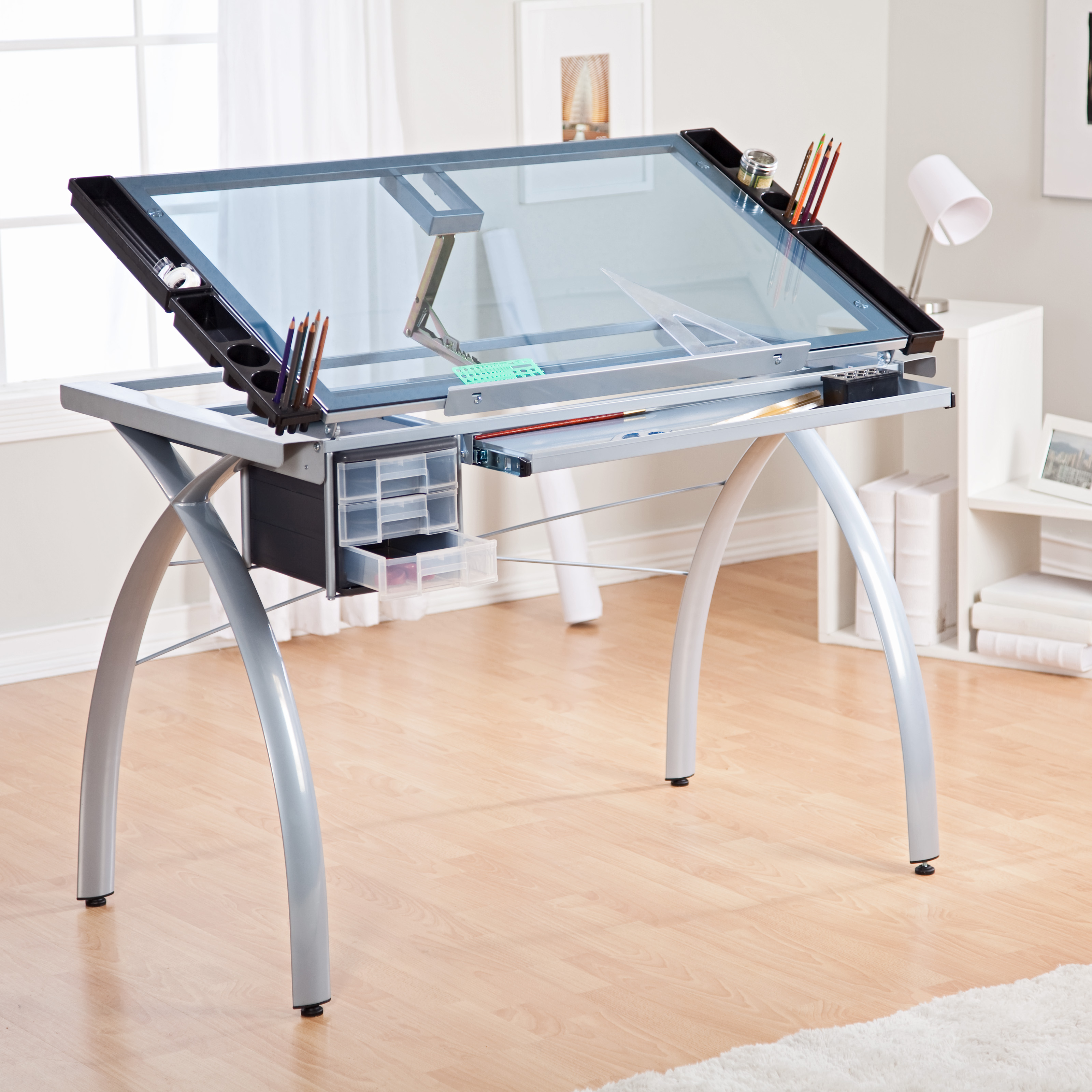 Studio Design Drafting Table tech drafting table Studio Designs Futura Craft Station With Glass Top Drafting Drawing Tables At Hayneedle