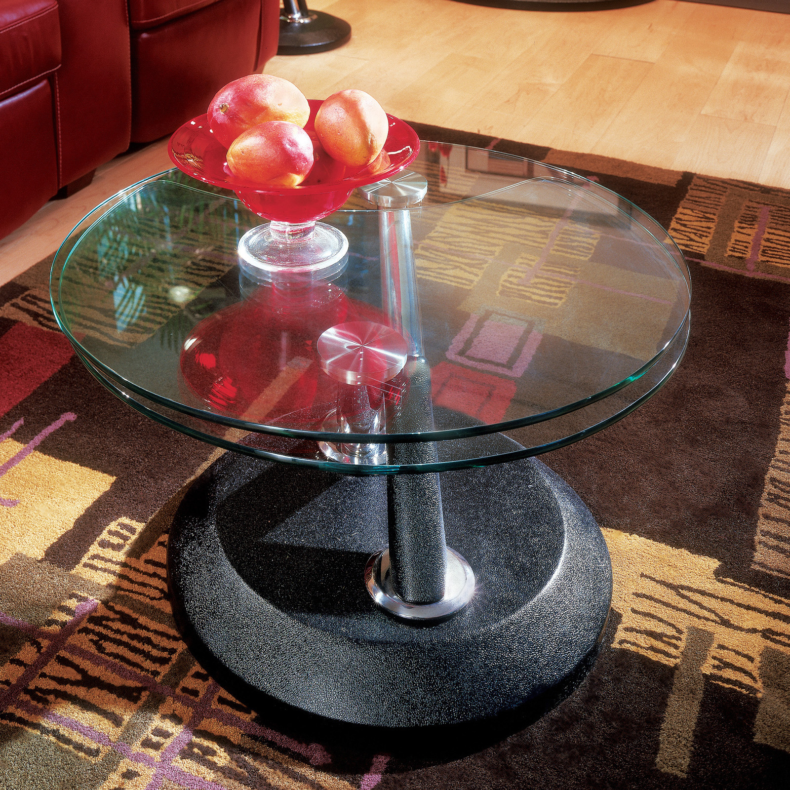 Magnussen Modesto Metal and Glass Swivel Coffee Table