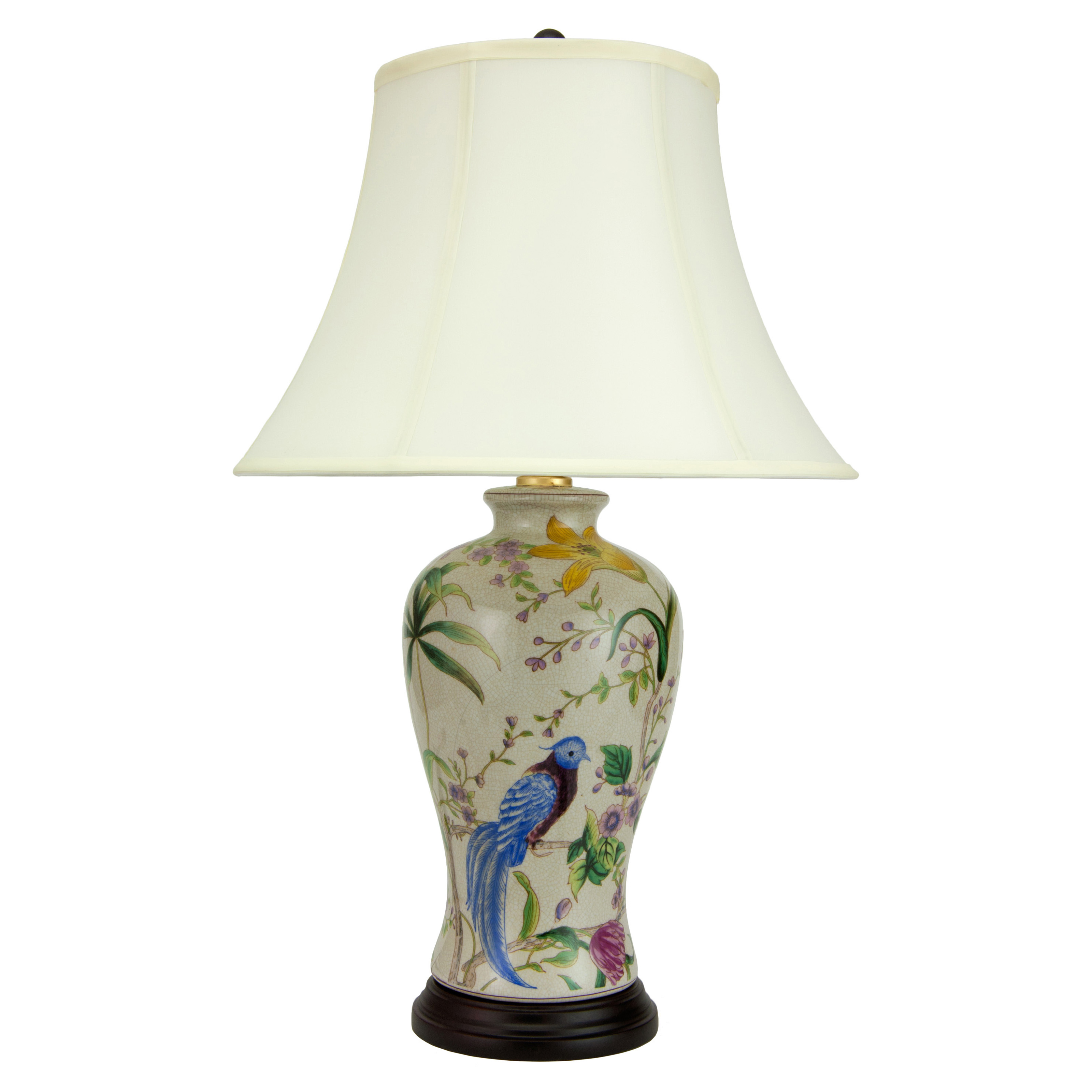 Oriental furniture floral white porcelain table lamp hayneedle geotapseo Gallery