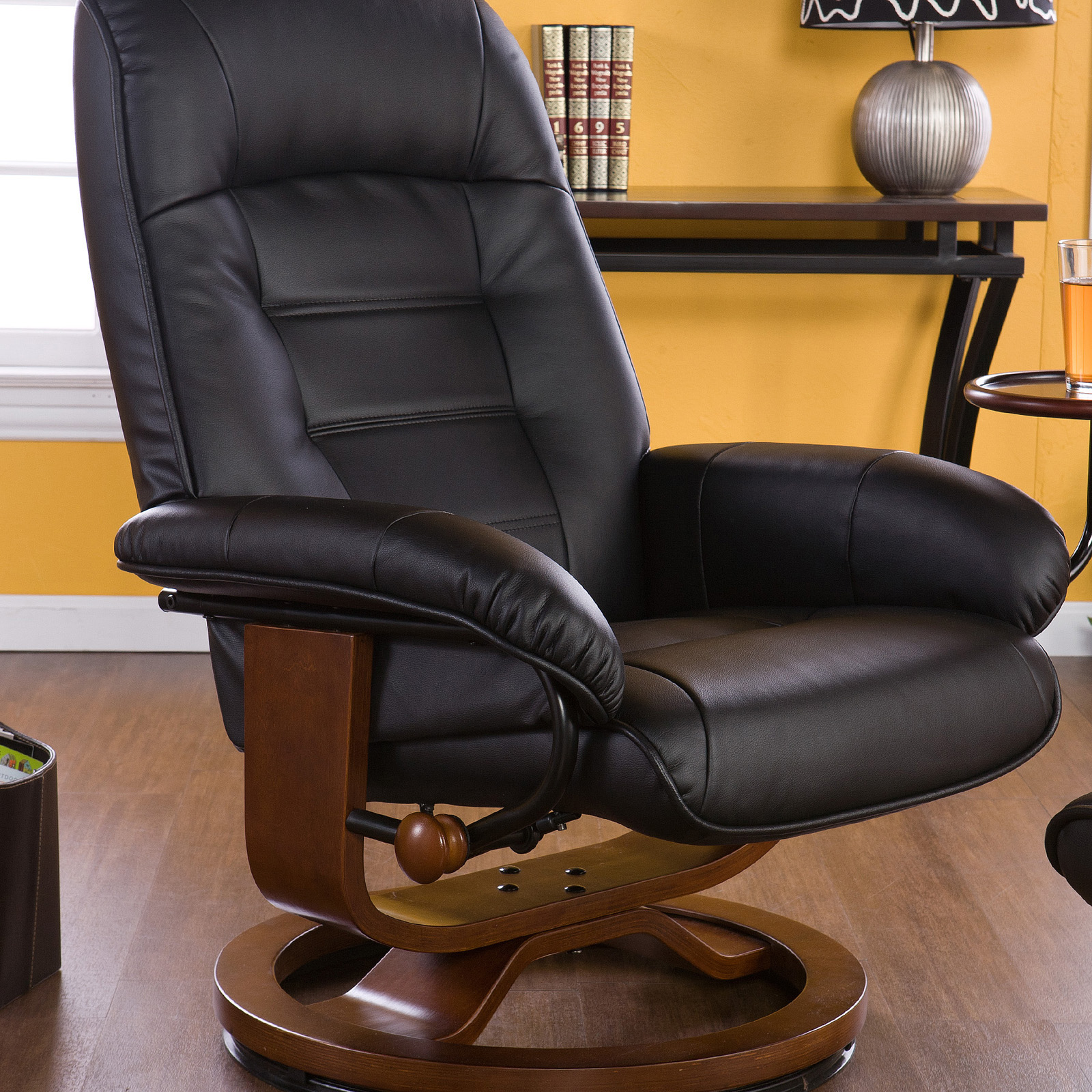 & Southern Enterprises Leather Swivel Recliner with Ottoman | Hayneedle islam-shia.org