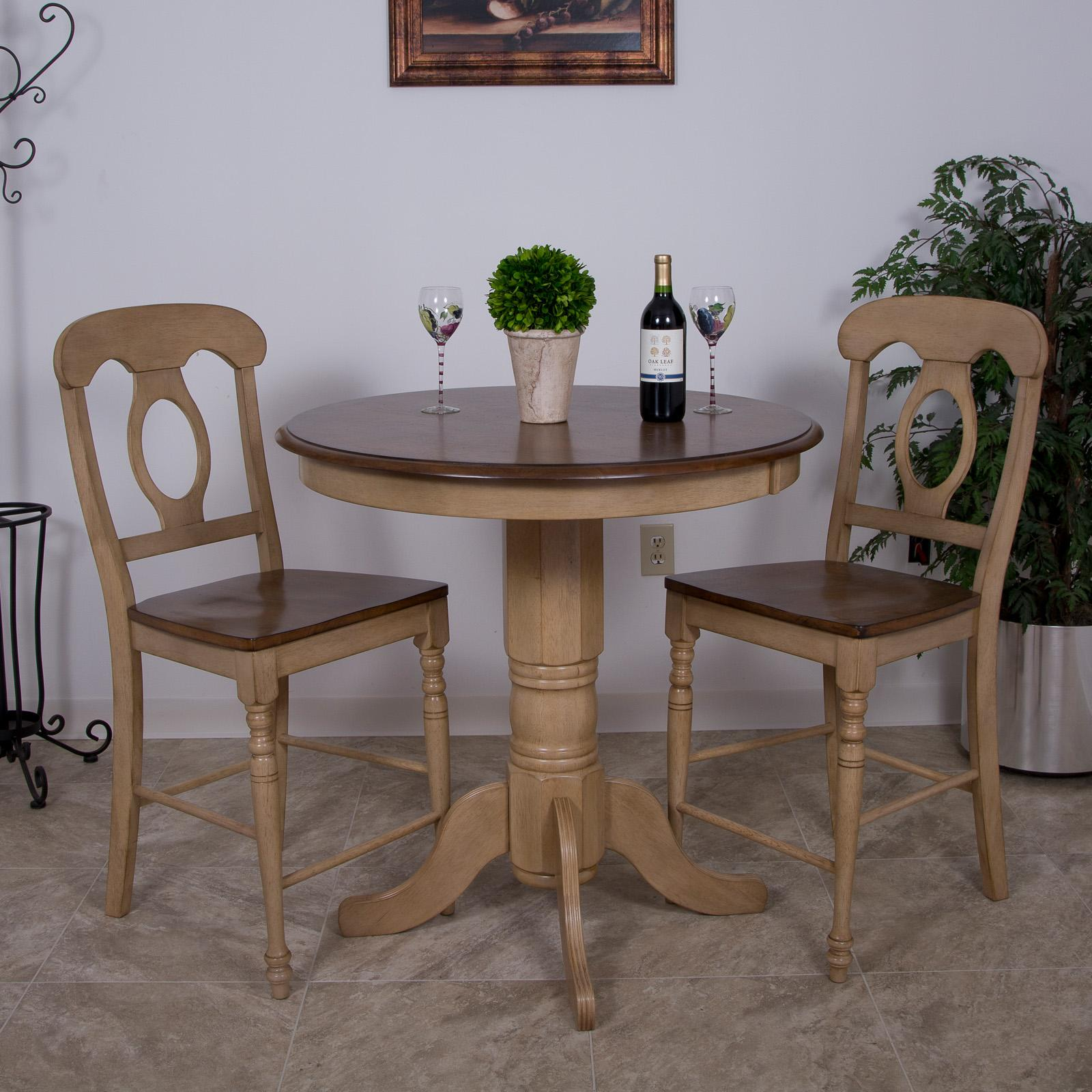 Details About Sunset Trading 3 Piece Brook 36 In Round Pub Dining Table Set With Napoleon