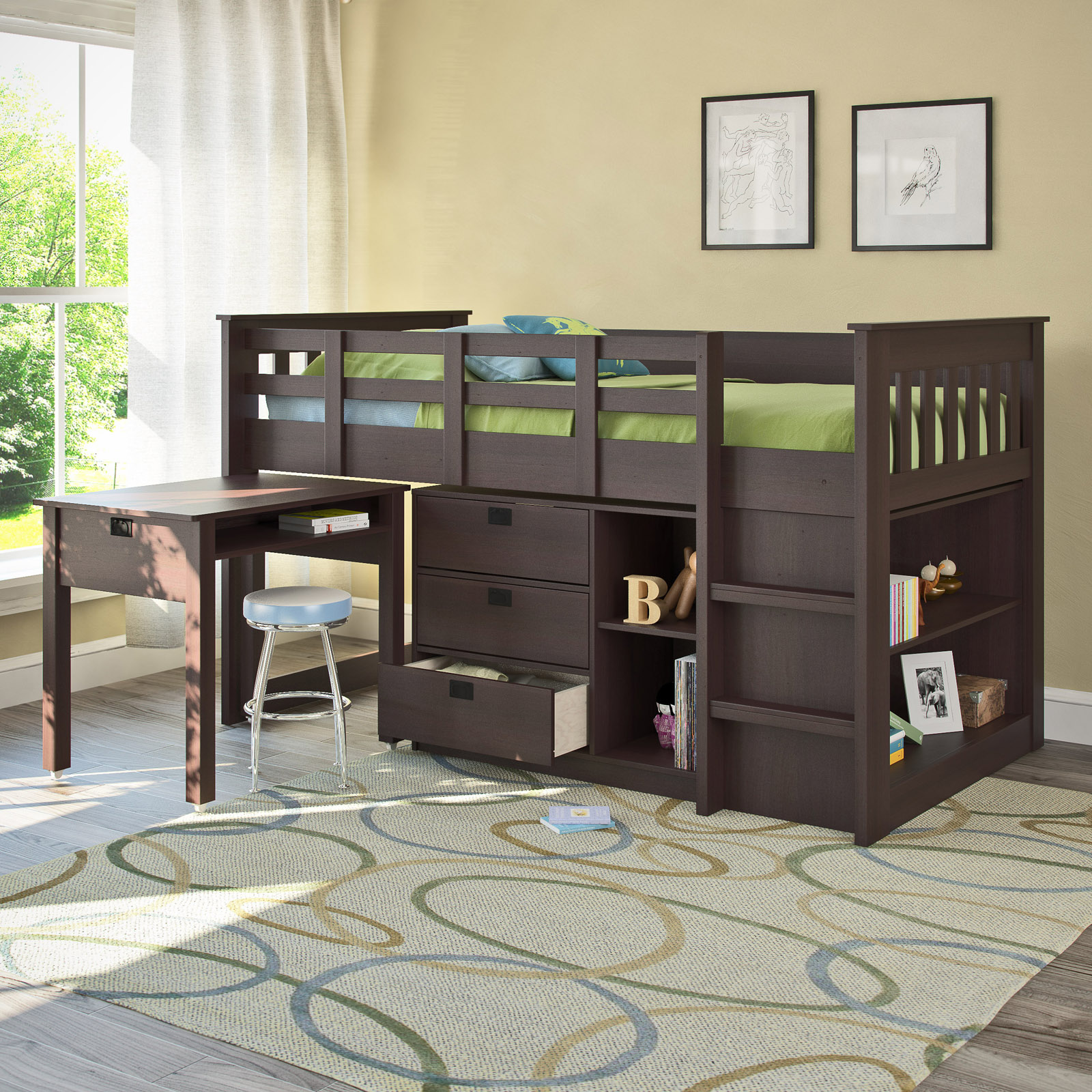corliving madison twin loft bed with desk and storage | hayneedle